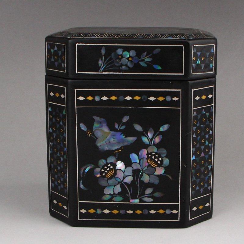 Chinese Black Lacquerware Inlay Shells Jewelry Box
