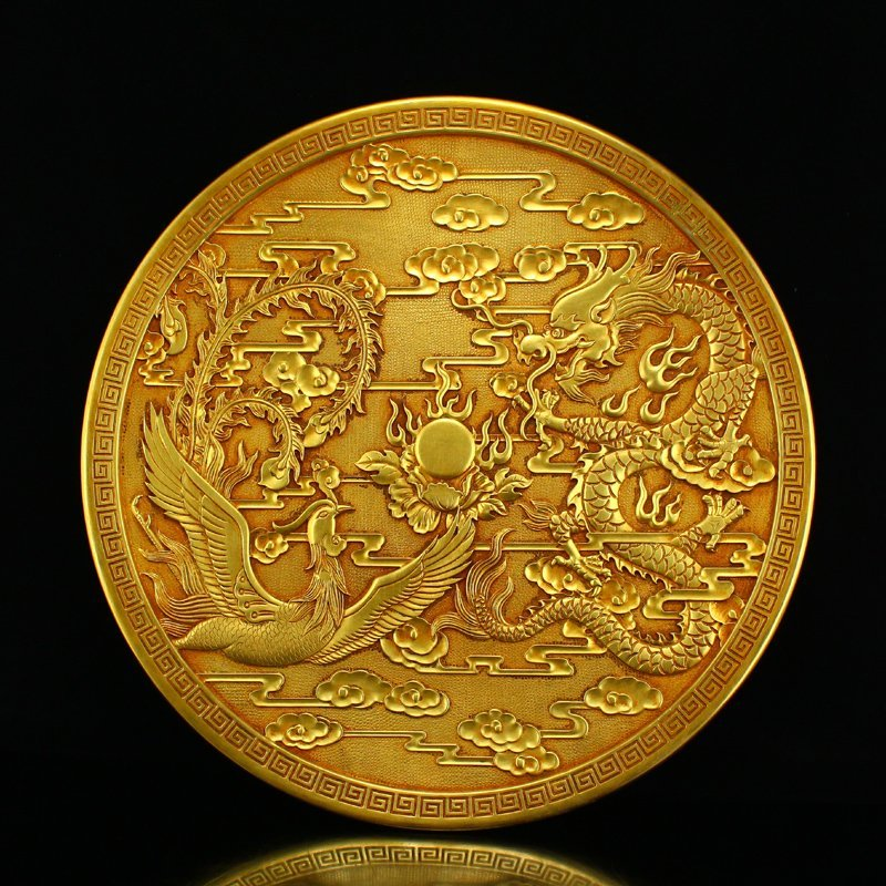 Chinese Gilt Gold Red Copper Dragon Phoenix Plate