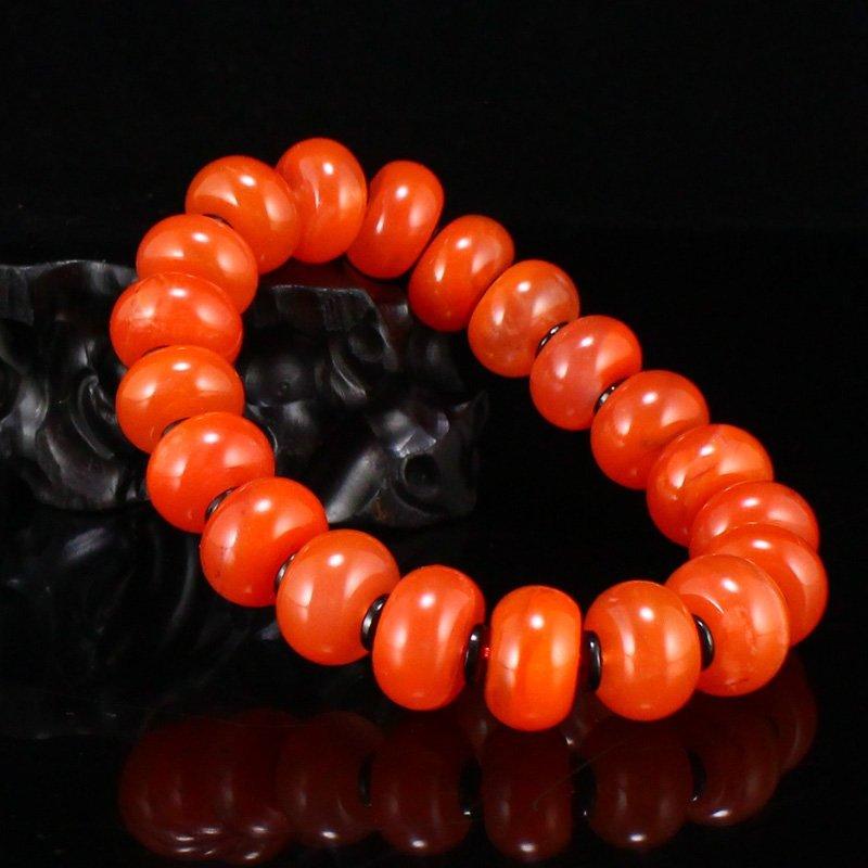 Chinese Nan Hong Agate Beads Bracelet w Certificate