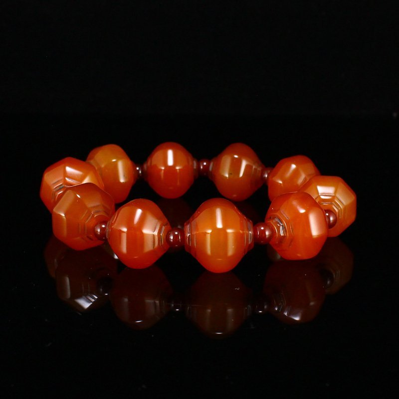 Vintage Chinese Red Agate Beads Bracelet