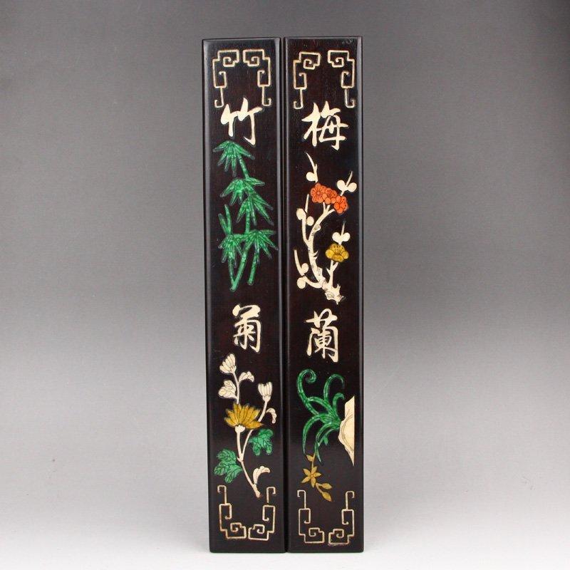 A Pair Vintage Zitan Wood Inlay Shells Paperweights