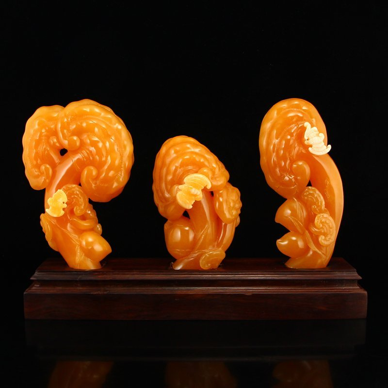 Indonesia Natural Jin Tian Huang Ruyi Statues
