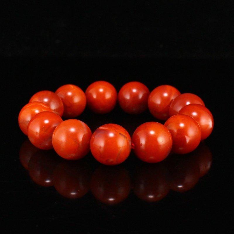 18 MM Chinese Nanhong Agate Beads Bracelet