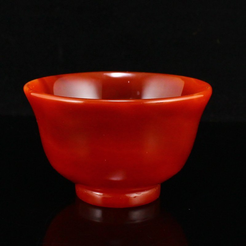 Chinese Natural Red Agate Bowl w Certificate