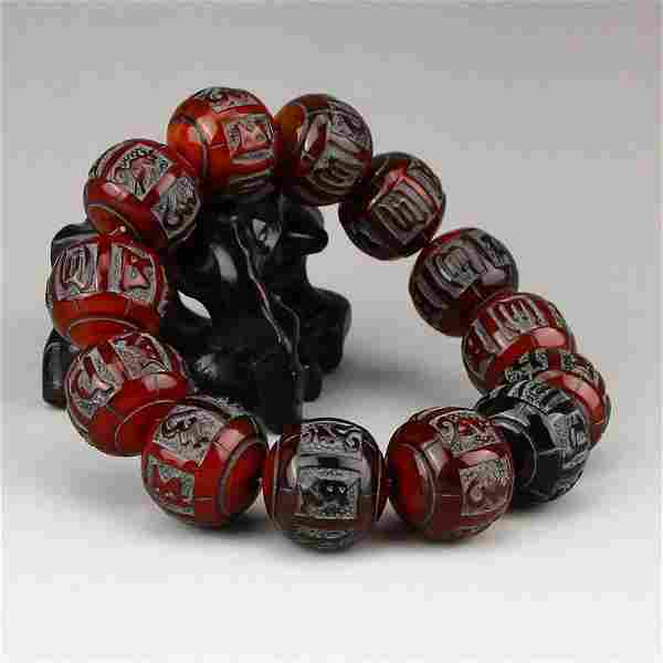 Vintage Chinese Ox Horn Buddhism Sutras Bracelet