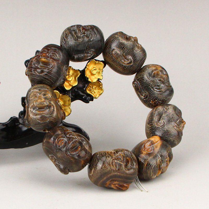 Vintage Chinese Ox Horn Laughing Buddha Beads Bracelet