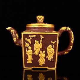 Superb Gilt Gold Zisha Clay Eight Taoism Deity Teapot