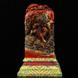9KG Qing Dy Shoushan Stone Divine Beasts Big Seal w Box