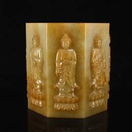 Qing Dy Hetian Jade Siddhartha Buddha Brush Pot