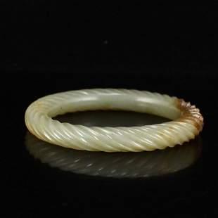 Inside Diameter 58 MM Vintage Hetian Jade Bracelet