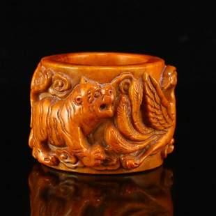 Vintage Deer Horn High Relief Divine Beast Thumb Ring