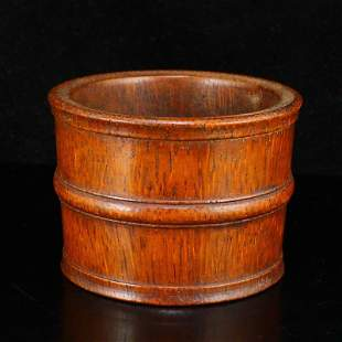 Vintage Chinese Bamboo Carved Brush Washer