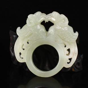 Vintage Chinese Hetian Jade Divine Bird Thumb Ring