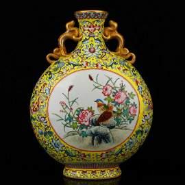 Qing Gilt Gold Famille Rose Double Ears Porcelain Vase
