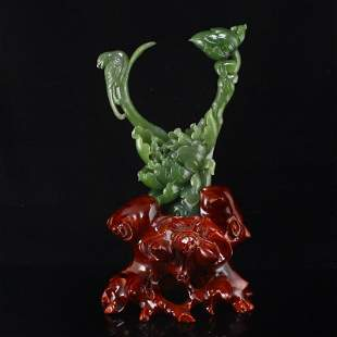 Chinese Natural Green Hetian Jade Flower Bird Statue