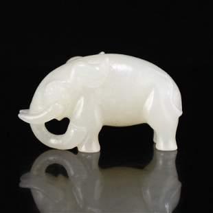 Superb Chinese Natural Hetian Jade Elephant Pendant