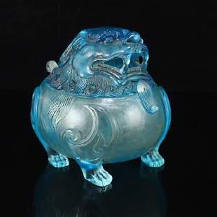 Vintage Chinese Blue Peking Glass Lion Incense Burner