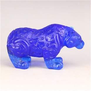Vintage Chinese Blue Peking Glass Bear Statue