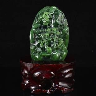 Natural Green Hetian Jade Pine Tree Figure Statue