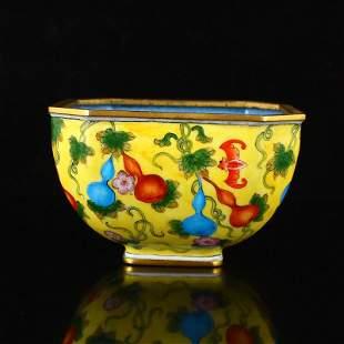 Chinese Gilt Edge Yellow Ground Enamel Porcelain Bowl