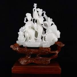 Superb Hetian Yangzhi White Jade Beautiful Girls Statue