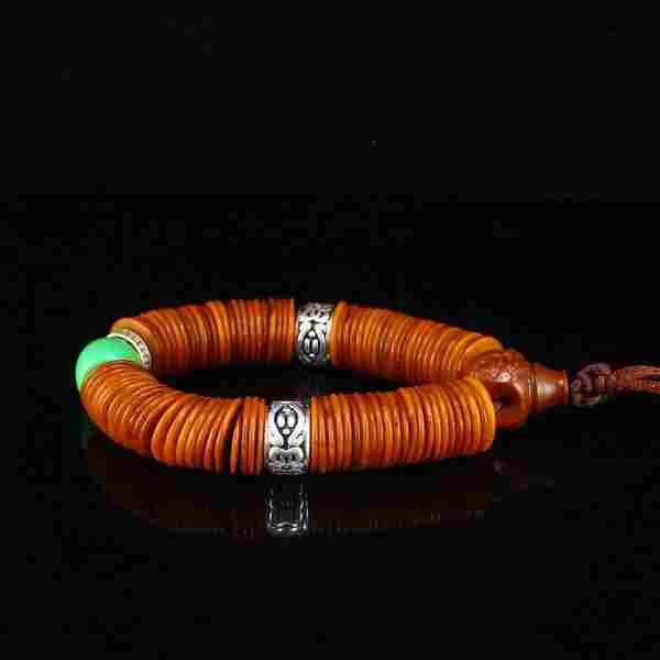 Vintage Tibetan Buddhism Ox Horn & Silver Bracelet