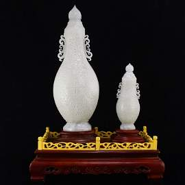 Two Superb Xinjiang Hetian Jade Double Ears Vases