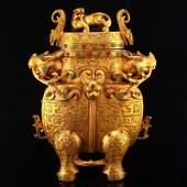 Gilt Gold Red Copper Inlay Gem Divine Beast Burner
