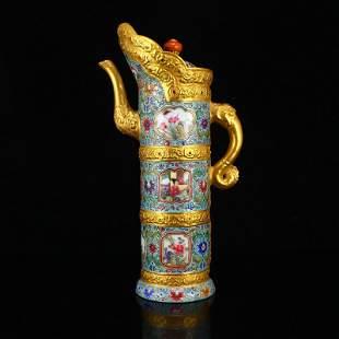 Gilt Gold Famille Rose Porcelain Inlay Gem Doomu Pot
