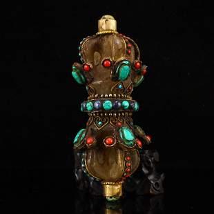 Tibetan Buddhism Crystal Inlay Gem Pestle XiangMo
