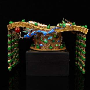 Superb Gold Wire Enamel Inlay Green Jade Imperial Crown