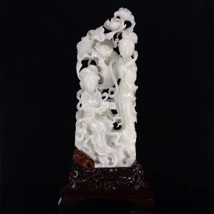 Superb Hetian Yangzhi White Jade Beautiful Girls Statue