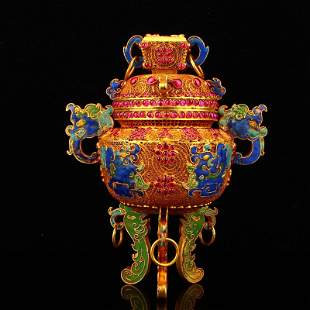 Gold Wire Enamel Inlay Ruby Double Ears Incense Burner