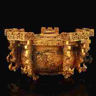 Superb Vintage Gilt Gold Bronze Wine Warmer Burner