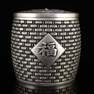 Vintage Chinese Silver Plated Copper Tea Caddy