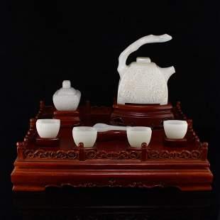 Set Superb Xinjiang Hetian Jade Teapot & Cups ,Caddy