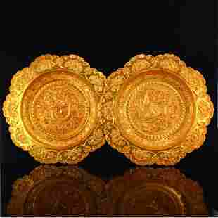 A Pair Superb Gilt Gold Red Copper Dragon Phoenix Plate