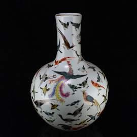 Qing Famille Rose Hundred Bird & Phoenix Porcelain Vase