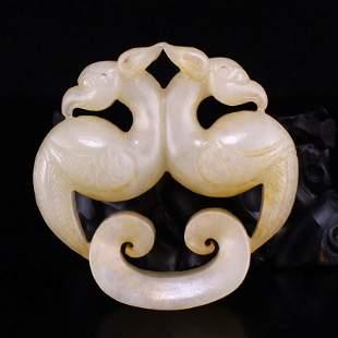 Openwork Vintage Hetian Jade Double Phoenix Pendant
