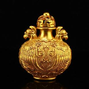 Ming Gilt Gold Red Copper Double Phoenix Snuff Bottle