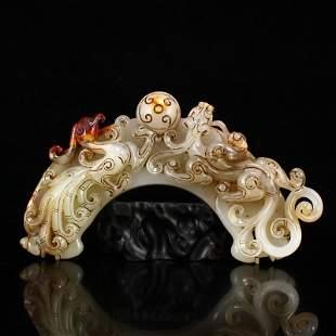 Superb Hetian Jade Dragon Phoenix Semicircle Jade Bi