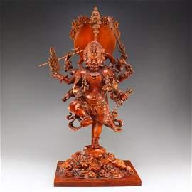Vintage Boxwood Wood Buddhism Figure Statue