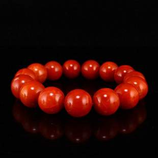 17 MM Chinese Nanhong Agate Beads Bracelet
