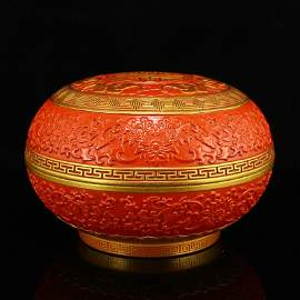 Chinese Qing Dy Gilt Gold Red Glaze Porcelain Food Box
