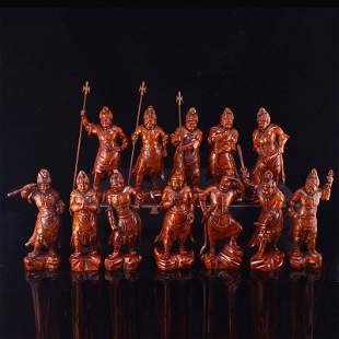 A Set Twelve Chinese Boxwood Wood Carved Figure Statues