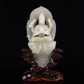 Superb Qing Dy Hetian Jade Four Arm Kwan-yin Statue