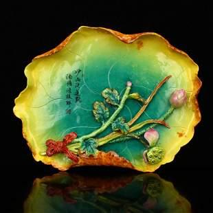 Beautiful Porcelain Lotus Leaf & Lotus Flower Plate