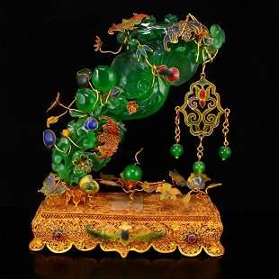 Gold Wires Enamel Inlay Green Jade Ruyi & Bat Statue