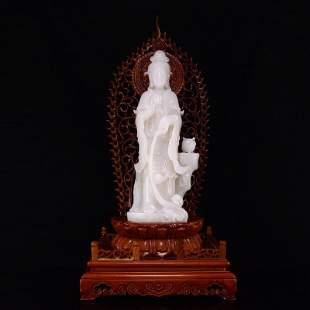Xinjiang Hetian Yangzhi White Jade Kwan-yin Statue