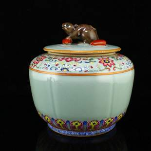 Chinese Douqing Glaze Famille Rose Porcelain Tea Caddy